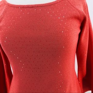 St John size 2 sparkle sweater coral stretch scoop